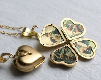 Friends and Family Locket ... Heart Locket Four Photos Gold Vintage Brass