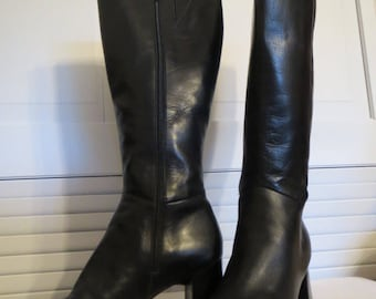 vintage Black Leather Tall Boots with Stacked Wood Heel by Nine West -  size 7 1/2 Medium