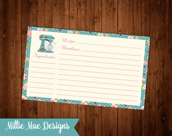 Shabby Chic Kitchen Mixer Recipe Cards - Instant Download 3x5 and 4x6