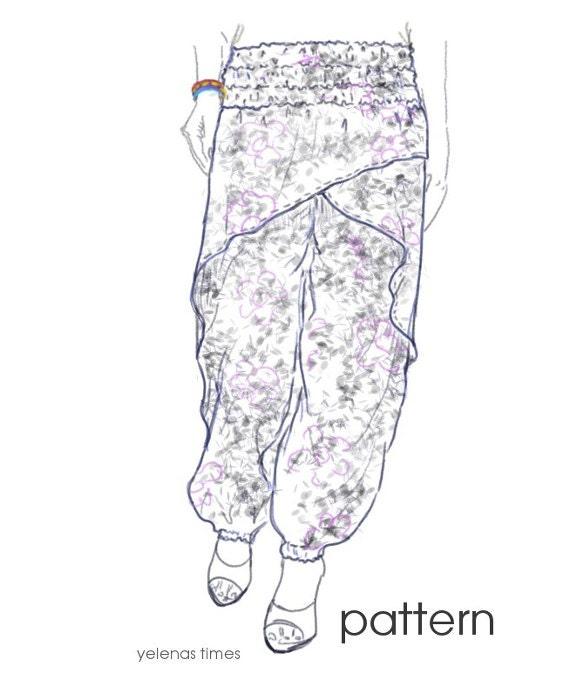 Harem Pants Sewing Pattern-Wrap Pants-Aladdin Pants -Baggy Pants ...