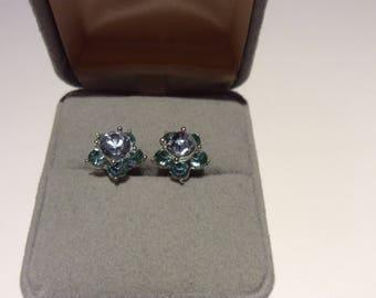 Avon NR Blue Rhinestone Earrings