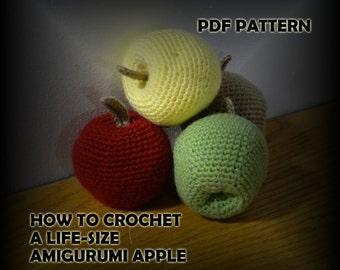 How to Crochet a Life Size Amigurumi Apple - Crochet Pattern - Crochet Fruit - Crochet PDF - DIY Crafts - Fake Fruit - Apple Kitchen Decor