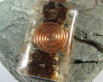 Moonstone and Meteorite Orgone Pendant