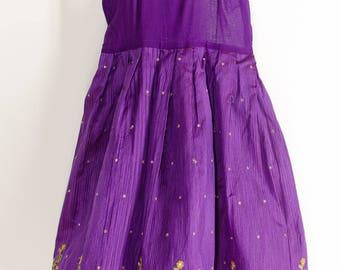 Vintage Purple Jeweled Bohemian Girls Dress 7 8  Bohemian Girl Ethnic Boho Dress Sleeveless Dress