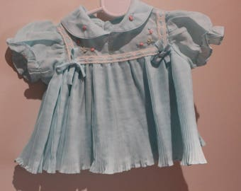Blue Pleat Baby Top