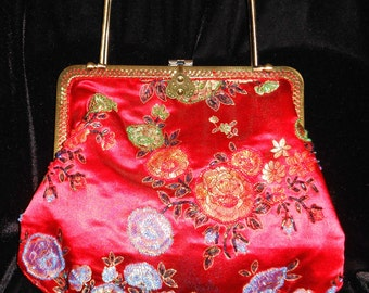 Beautiful Cherry Red Purse with beading