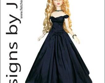 """PDF Splendor Gown Pattern for 16"""" Vinyl Goodreau ABJD dolls"""