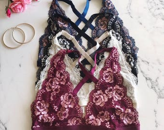Floral Lace Overlayed bralette Cross Back Bralette