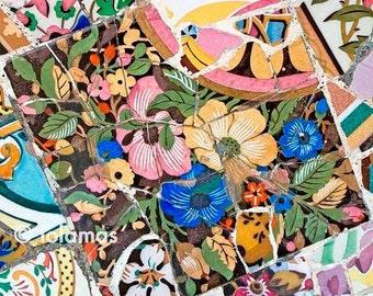 Mosaic print Art, dine room wall art, Mosaic tile, spring wall decor, Gaudi, Fine Art Photography, Wall Art Print