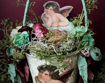 Valentine Basket, Victorian Valentine, Peat Pot Basket, Valentine Decoration, Valentine Cupid
