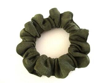 green jersey scrunchie for long hair, skinny accessory for women girl, handmade gift for her, hair elastic, 80s 90s disco