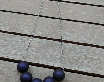 Blue dots necklace, beaded necklace