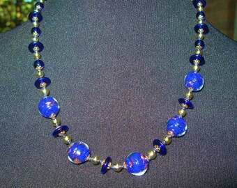Vintage Venetian Glass Necklace Cased Cobalt Blue Aventurine and Flying Saucer Beads, Cobalt & Goldtone Spacers Hand Knotted Murano Lampwork
