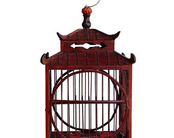 30%OFF SALE Chinese Oriental Square Birdcage Shape Reddish Brown Wood Display cs3650E