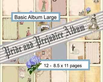 """Digital Album Pride and Prejudice, Jane Austen, Large size 8.5 x 11"""""""", scrapbook pages, album pages, page templates"""