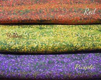 Spring Danscapes Floral Landscapes Fabric~By the 1/2 yd~3 colors~red~yellow~Purple~RJR~Flowers~Dan Morris