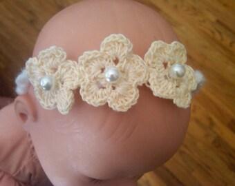 Petite dainty delicate lace like crochet flowers on crochet headband with pearl centers