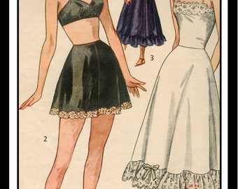 1940's Lingerie Pattern, Bra, French Knickers and Petticoat - Paper pattern