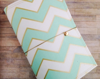 Fabric Traveler's Notebook in Mint and Gold Chevron