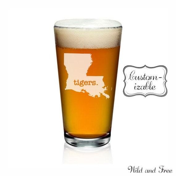 Louisiana Pint Glass Customize With Text Or Symbol Louisiana