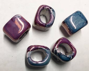 Ceramic Slider Dahlia Mauve Pink Blue Spacer Beads Large Hole Oval Glossy Finish 15x15x8mm 2 pcs