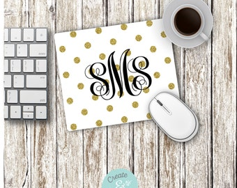 Monogram Mousepad, Gold Glitter Polka Dots Mouse Pad, Office Decor, Mouse Pad, College Gifts, Daughter Gift, Flower Mouse Pad
