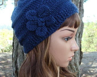 DIY- Knitting PATTERN #1: Women's Knit Hat Pattern, Includes hand knit flower pattern, Size Teen/ Adult - PDF Digital Pattern