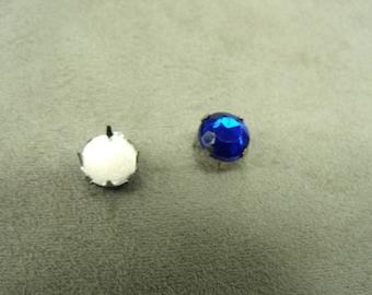 rhinestone round claw - 1 cm - Blue