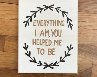 Mother's Day Gift: Everything I Am, You Helped Me to Be