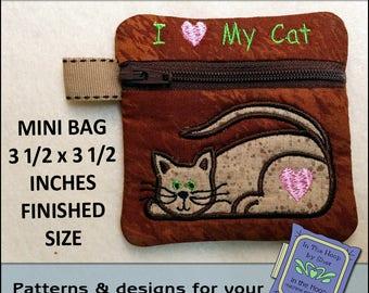 ITH Love My Cat Mini Zipper Bag - Fully Lined - In The Hoop Zipper Bag - Cat Zipper Bag - Embroidery Design - 4x4 Hoop