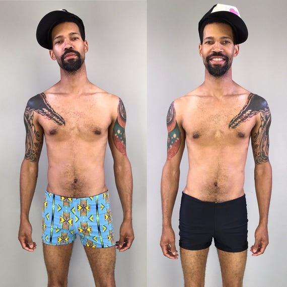 Reversible mens swim trunks blue geometric pattern to solid black men's shorts sizes medium and large