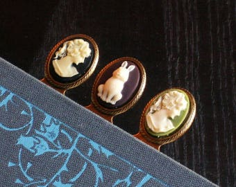 Cameo bookmark antique brass, stocking stuffers, unique holiday gifts, gifts for book lovers, bookworm gift, gifts for her,