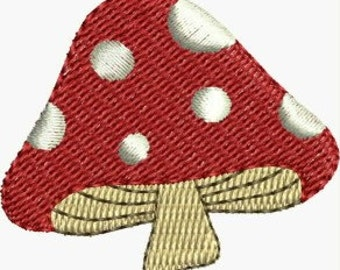 Mini Mushroom embroidery designs 3 sizes