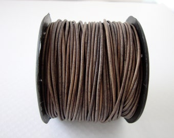 Genuine Leather Cord, Grey Leather Cord, 1.5m Round Cord, Round Leather Cord, Bracelet Necklace Leather
