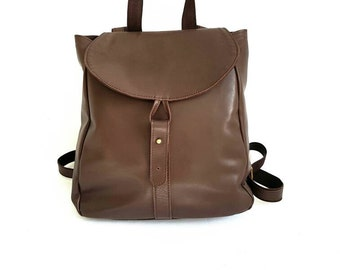 Stylish Leather Backpack- brown