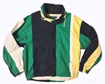 VINTAGE Nautica / ColorBlock / Jacket / Adult XL / Striped / Windbreaker