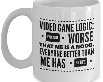 Video Game Coffee Mug - Noob or no life gamers ?  Funny Video Game Mug - Gift for Gamer