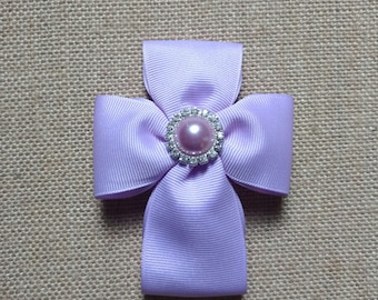 Christening Hairbow, Cross Hairbow, Religious Hairbow, Girls Hair Accessory, Lavender Cross Hairbow, Sunday Hairbow, Baptism Hairbow