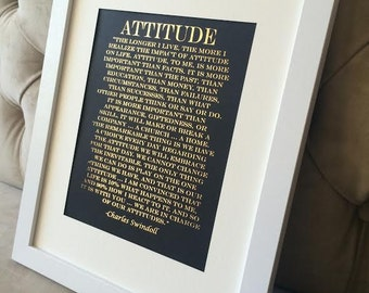 Attitude Quote, Charles Swindoll Print on Black Matte Pape, Real Gold Foil Print,  Inspirational Quote, Motivational Quote