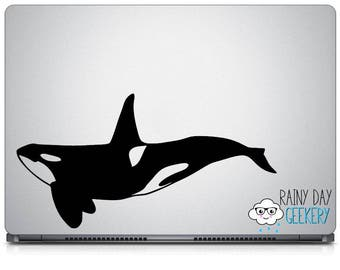Orca / Killer Whale Vinyl Decal - Laptop Decal, Car Window Decal, Ocean Life, Cute Orcas, Orca Gift, Killer Whale Gift, Gift for Her