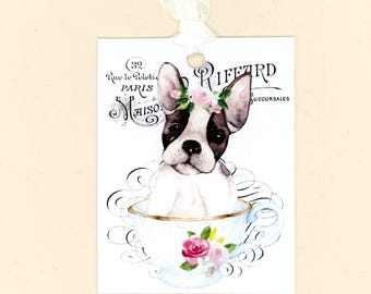 Dog Gift Tags, Boston Terrier, Dog in a Tea Cup, French Tags, Wtercolor Tags, Dog Tags