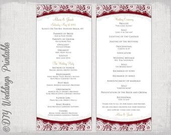 wedding program template plum lace diy order of