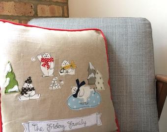 Polar bear family Christmas freehand embroidered cushion