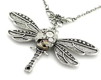Edwardian Dragonfly Pendant -  Steampunk Watch Dragonfly Necklace