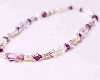 The Jane Handmade Amethyst Swarovski Crystal & Pearl Necklace