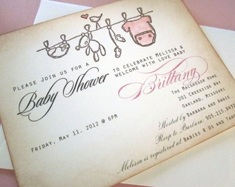 Baby Shower Invitation AS SEEN ON Disney Baby- clothesline - vintage appearance- set of 10