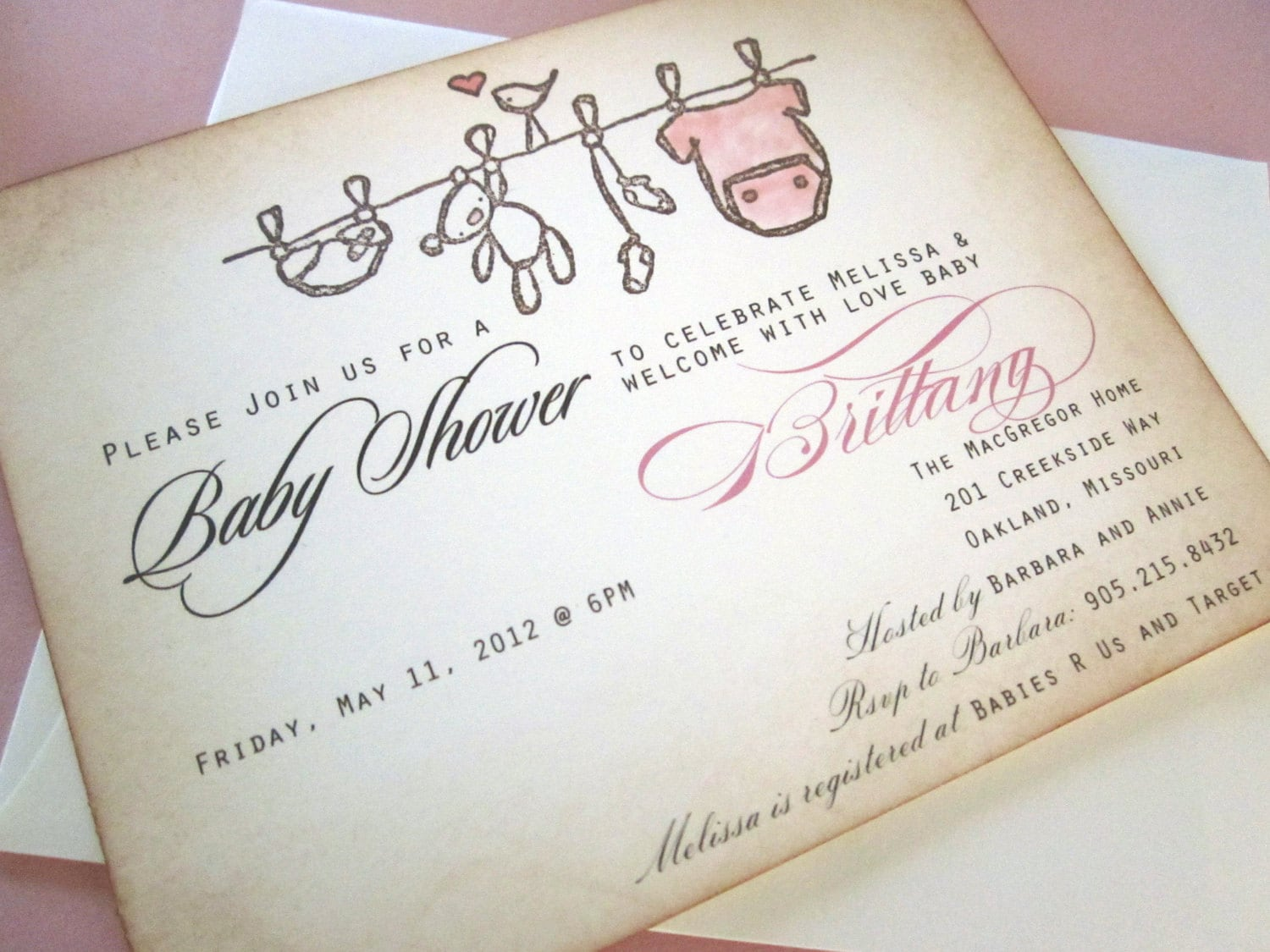 Baby Shower Invitation AS SEEN ON Disney Baby clothesline