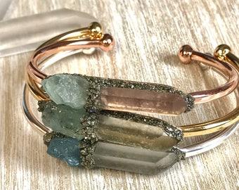 Aquamarine bracelet, inspirational, healing crystals, Womens, Personalized-bracelets, crystals, Celestial jewelry, raw stone jewelry,
