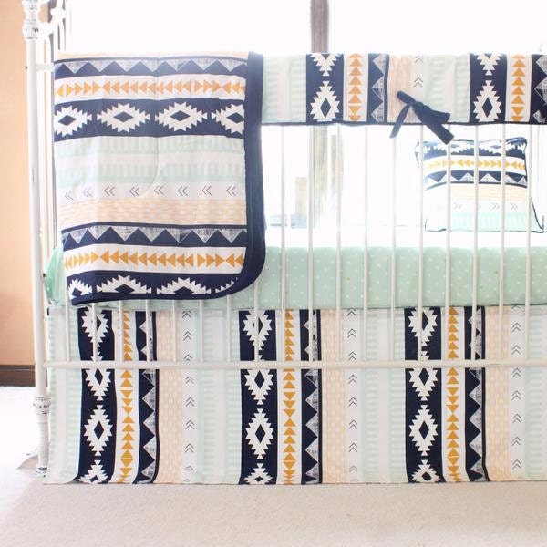 Marion S Coral And Gold Polka Dot Nursery: Tupac's Arid Horizon Aztec Navy & Mint Tribal Baby Bedding