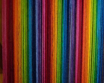 15 coloured rainbow hand dyed sock yarn